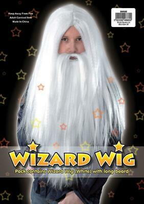Fancy Dress White Wizard Wig and Beard Set Gandalf Dumbledore God Santa Old Man