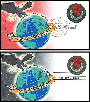 2014 Silver Bells Wreath First Class Global Forever FDC Set