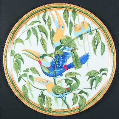 "AUTHENTIC HERMES ""TOUCANS"" LIMOGES PORCELAIN TART / CAKE PLATTER  32cmD ROUND"