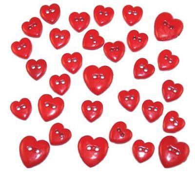 Red Hearts - Creative Collection-Red - Cute Button Embellishments by Dress It Up