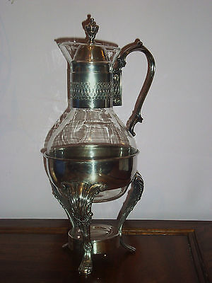 Vintage SILVERPLATED METAL & GLASS COFFEE/TEA CARAFE – POT W/ WARMING STAND