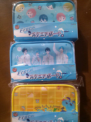 Free ! IWATOBI SWIM CLUB * TAITO KUJI * Square Pouches Award ! Complete Set !