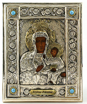 Silver Plated Icon of Our Lady of Czestochowa with Turquoise Stones Poland