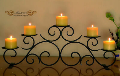 Metal Candle Holder 3 Trays Pillars Table Stand Home Wedding Celebration Gift