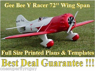 """Gee Bee-Y 72"""" WS Giant Scale RC Airplane Full Size Printed Plans & Templates"""