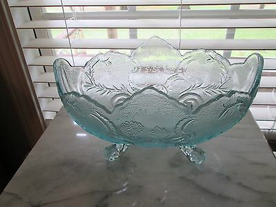 vintage teal blue depression glass with 4 feet on it