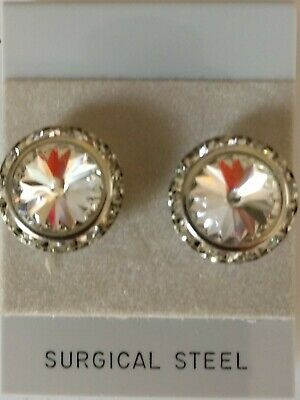 CRYSTAL PIERCED EARRINGS go with horse show number magnets Swarovski Crystals