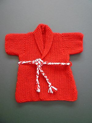 Teddy Bear's Handknitted Red Dressing Gown