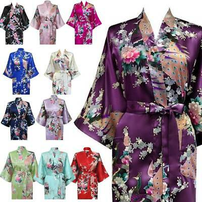 Bridesmaid Wedding Robes Kimono Bridal Peacock Satin Bath Dressing Gown Floral