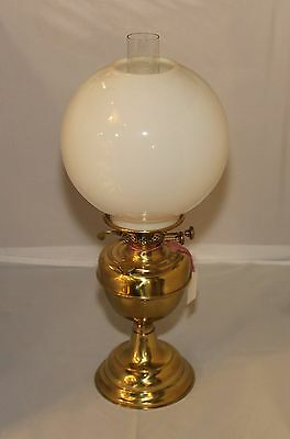 Vintage English Brass Double Wick Oil Lamp with Chimney and Glass Shade