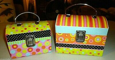 Yellow Polka Dot Stripe & Flowers Trunk Style Box Storage Chests With Handle