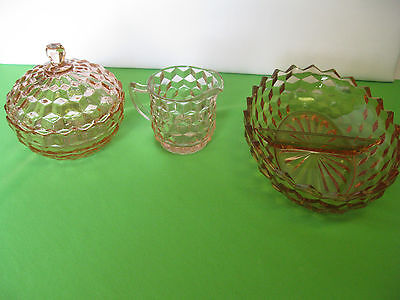 """Vintage Indiana Glass Whitehall Pink Candy Dish  9 7/8"""" Divided Dish, Creamer"""