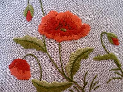 Gorgeous Red Poppies Vintage Hand Embroidered Runner/Scarf ~ 2 available