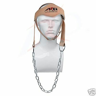 ARD Power Gym Weight LIFTING HEAD NECK Strength HARNESS STRAP Leather Natural