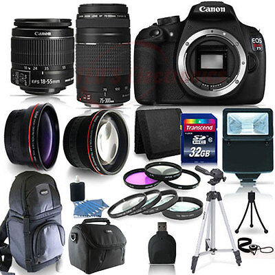 Canon EOS Rebel T5 DSLR Camera with EF-S 18-55mm IS II & 75-300mm Lenses & More