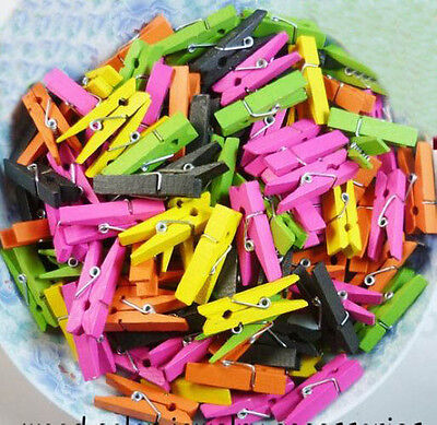 50X Mini Colorful Wooden Pin Paper Pege Note Message Photo Clip Craft Tool 25mm