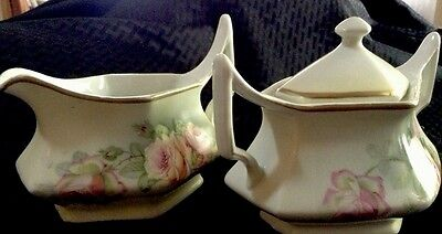 Vintage Early 1900's Cream And Sugar Roses Pattern Made In Germany