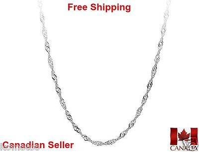 Womens Water Wave Necklace Lobster Clasp 18 inch 1.4mm 925 Sterling Silver