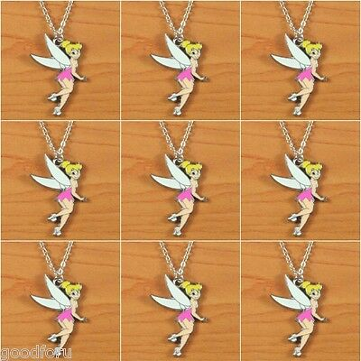Lot 9pcs Cute Tinker Bell Pink Fairy Necklaces Girls Boys Birthday Party Gifts