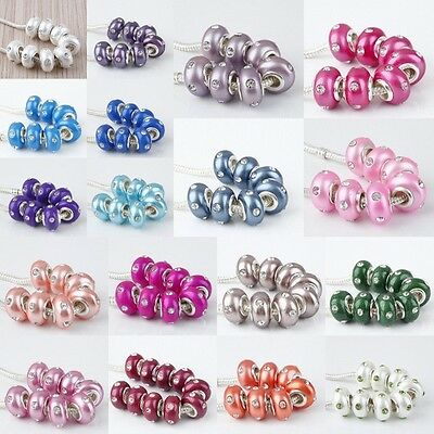 Lot Mix Color Crystal Rhinestone Ceramic Fimo Loose Beads Fit European Bracelet