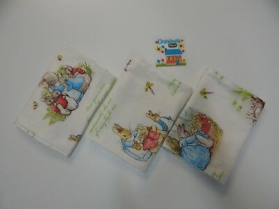 Peter Rabbit Burp Cloths x 3 White Toweling Backed GREAT GIFT IDEA!!