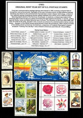 1981 Complete Year Set (42 Stamps) Of Mint Nh (Mnh) Vintage U.s. Postage Stamps