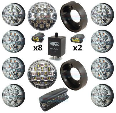 Land Rover Defender Complete Clear 10 Led Light Upgrade Kit + No Plate Rdx Wipac