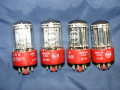 FOUR (4) RCA JAN- CRC- 5691 VACUUM TUBES, RED BASE, MATCHING DATE CODE