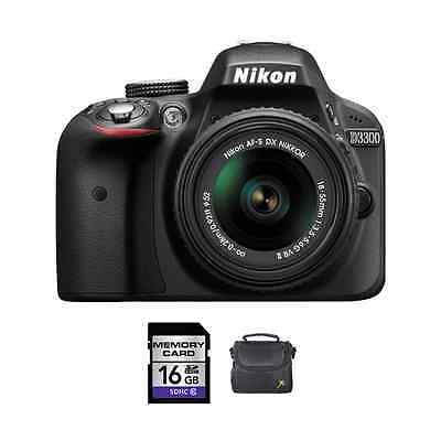 Nikon D3300 DSLR Camera - Black w/18-55mm f/3.5-5.6G VR II Lens + 16GB & Case