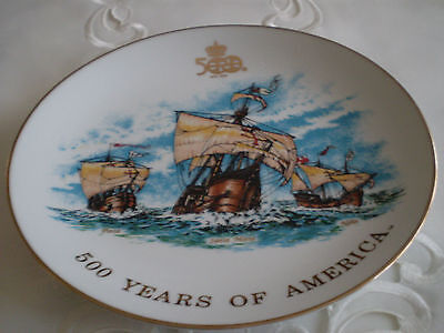 *500 YEARS of AMERICA* Christopher Columbus Old Ships Painted on Porcelain Plate