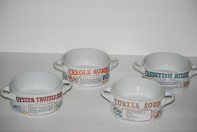 4 LJUNGBERG New Orleans Galatoire's Restaurant Soup Bowls Crawfish Oyster Creole