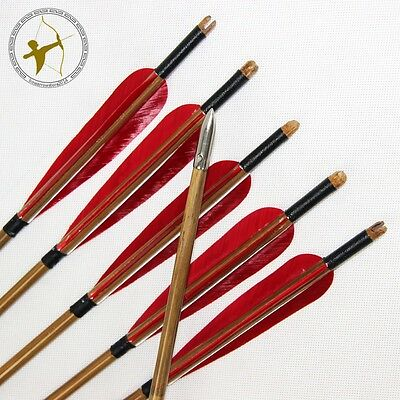 Free Shipping 6 Pcs 85cm Bamboo Arrows Bullet Point Red Turkey Feather Self Nock