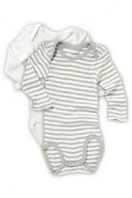Bonds Baby 2 Pack White Grey Long Sleeve Bodysuit Jumpsuit Size 0000 000 00 1 2