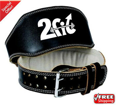 "2Fit Leather 6"" Belt WeightLifting GYM Training BodyBuilding Back Support Medium"