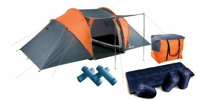 Aventura 4 Man Person Tunnel Tent Pack Double Skin Sleeping Bag Camping Mats