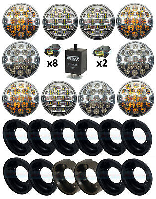 Land Rover Defender Nas 10 Front And Rear 95Mm Clear Led Lamp Light Upgrade Kit
