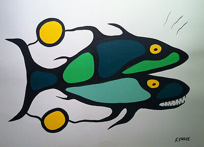 Stephen Snake (Native Canadian) - Acrylic On Paper - Going Upstream