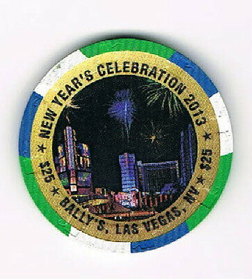 Las Vegas Bally's New Year's Celebration 2013 $25 Casino Chip LTD 1000