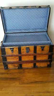 ANTIQUE STEAMER TRUNK c.1890 VERY LARGE