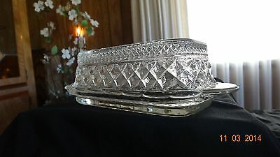 NO RESERVE**FABULOUS VINTAGE CLEAR CRYSTAL QUARTER LB. COVERED BUTTER DISH!