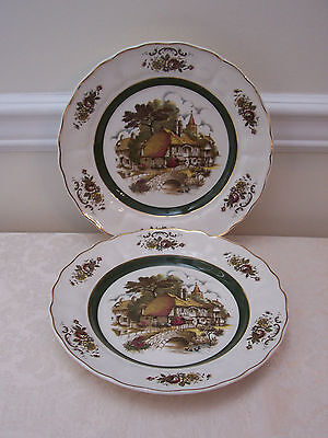2 GRINDLEY OF STOKE ENGLISH RURAL SCENES PLATES PRINCESS HOUSE STAFFORDSHIRE