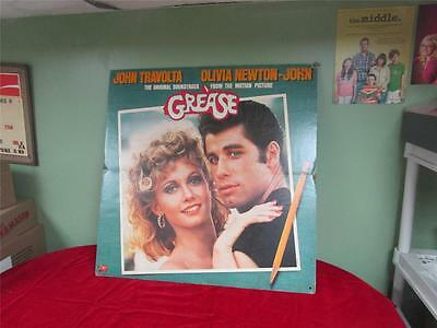 GREASE The Movie Original Soundtrack CARDBOARD DISPLAY 2-SIDED RARE!!!