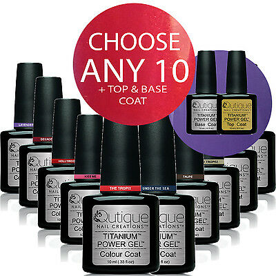 QUTIQUE Gel Nail Polish Pack/Kit/Set-ANY 10 Colours inc Base & Top-Salon Quality