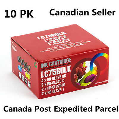 10 Ink for Brother LC75 LC71 MFC-J280W MFC-J425W MFC-J430W MFC-J435W MFC-J5910DW