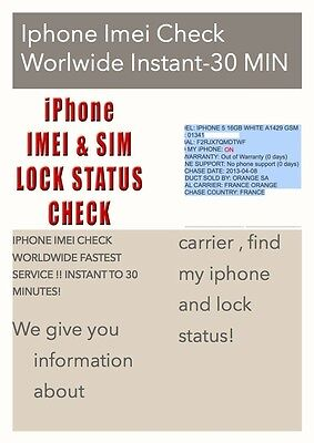 NETWORK/CARRIER/FIND MY IPHONE CHECK OF IPHONE Iphone 3gs,4 ,4s ,5,5s INSTANT
