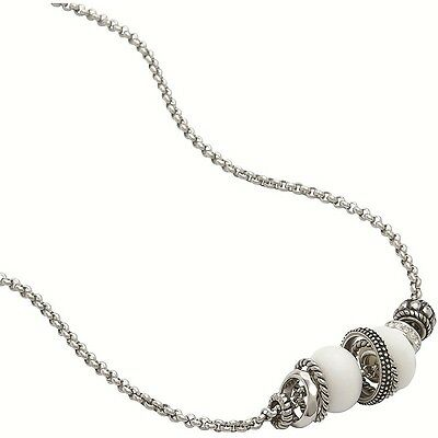 Fossil Vintage Rondel JF86884040 Beads Cubic Zirconia Stainless Steel Necklace