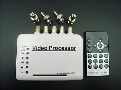 4CH Real-Time Video Quad Processor for CCTV camera Full Screen Zoom IR remote