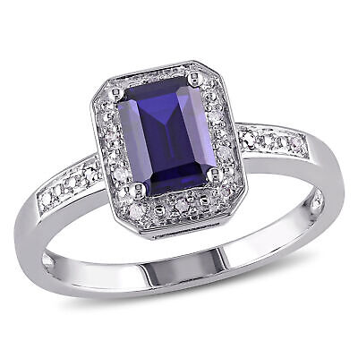 Sterling Silver Diamond-Accent & 1.59 CT TGW Cr. Blue Sapphire Ring