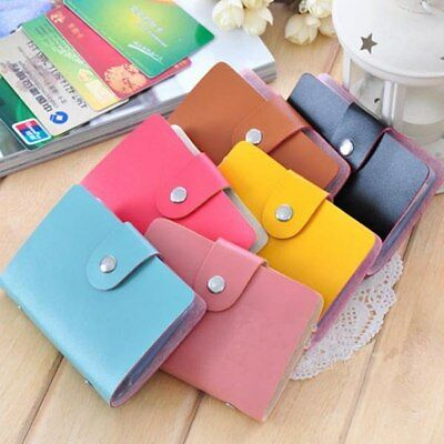 Business ID Credit Cards Leather Holder Wallet Pocket Case Pouch Purse 24 Slots