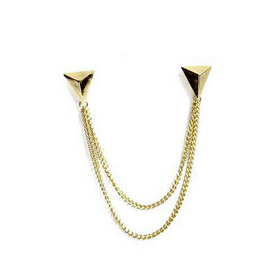 UK Spike Stud Blouse Shirt Collar Neck Brooch Pin Chain Punk Necklace Jewellery